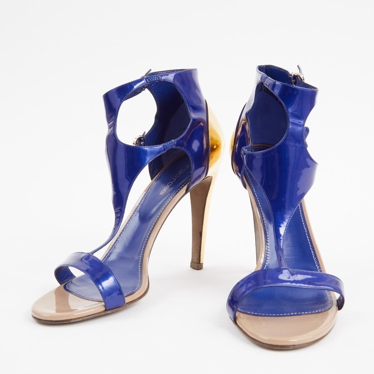 Sandales en cuir verni Sergio Rossi en coloris Bleu