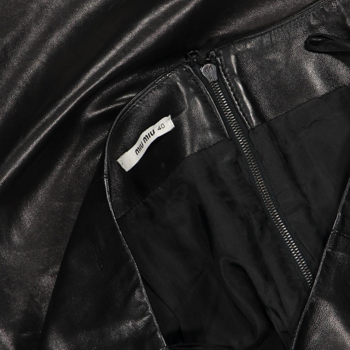 Jupe N en Cuir Noir Miu Miu en coloris Noir