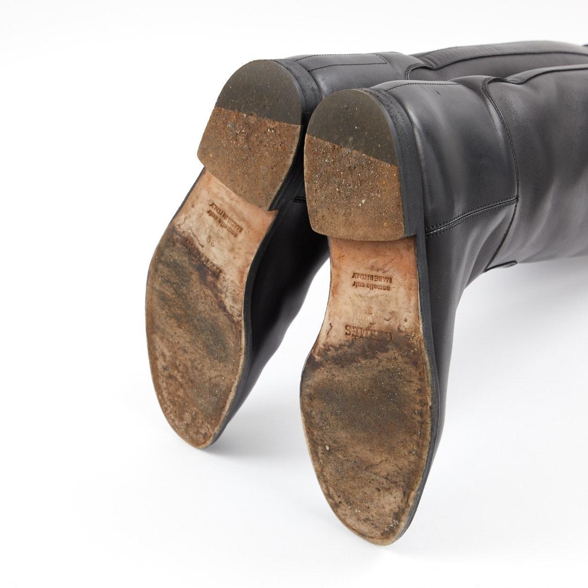Botas en cuero negro Jumping Hermès de color Negro