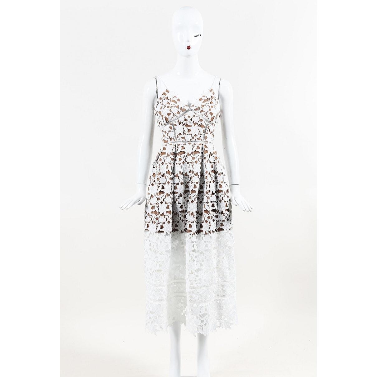 Vestido en sintético blanco Self-Portrait de Tejido sintético de color Blanco