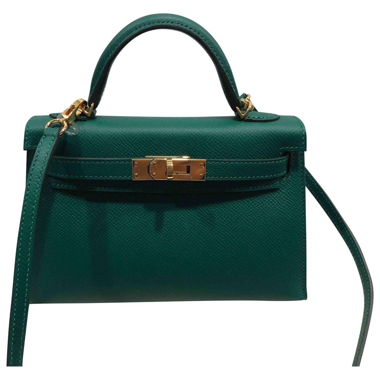 cbfce65cbe Hermès Pre-owned Kelly Mini Leather Mini Bag in Green - Lyst