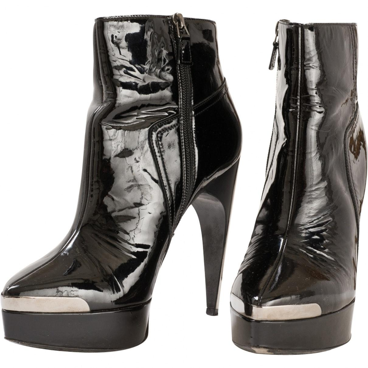 Lanvin n Black Patent Leather Ankle Boots