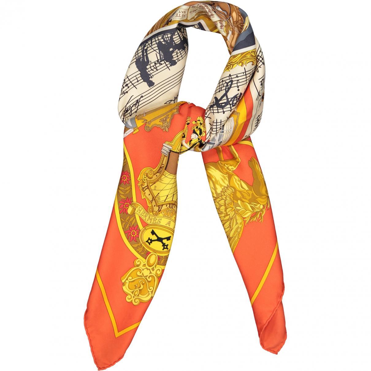 Lyst - Hermès Carré 90 Orange Silk Silk Handkerchief in Orange 967469c158f