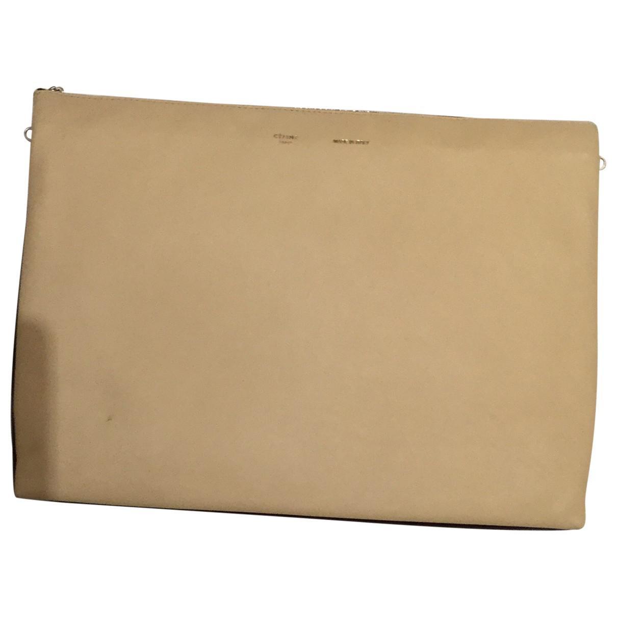 Lyst - Céline Trio Leather Clutch Bag in Natural 4315a0885e84b