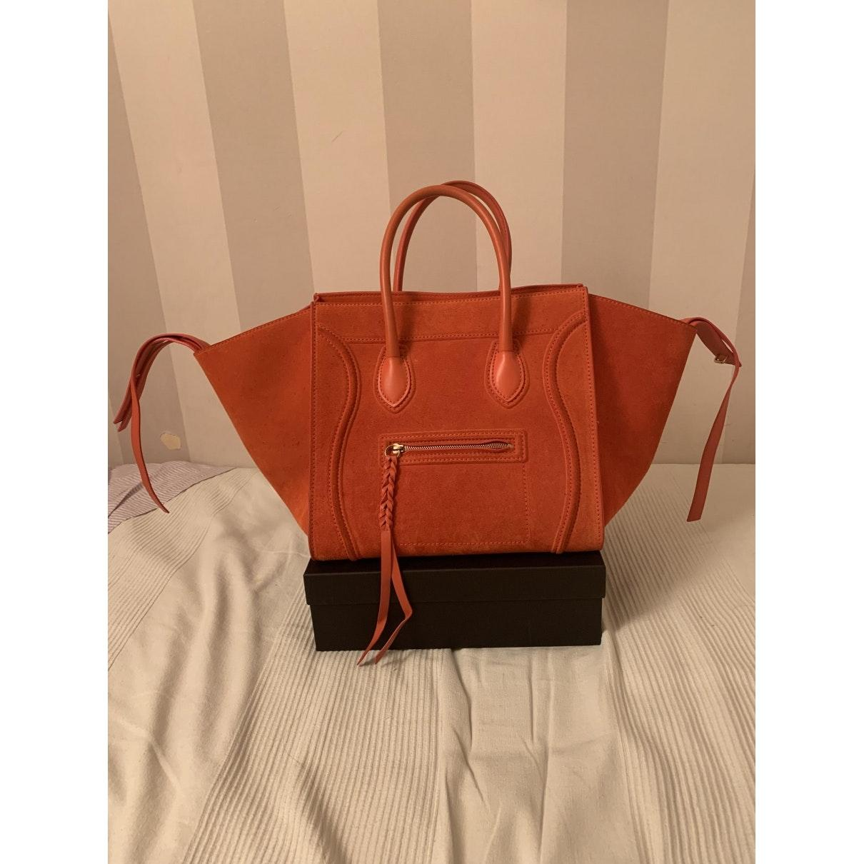Sac à main Luggage Phantom en Suede Orange Celine qoFo