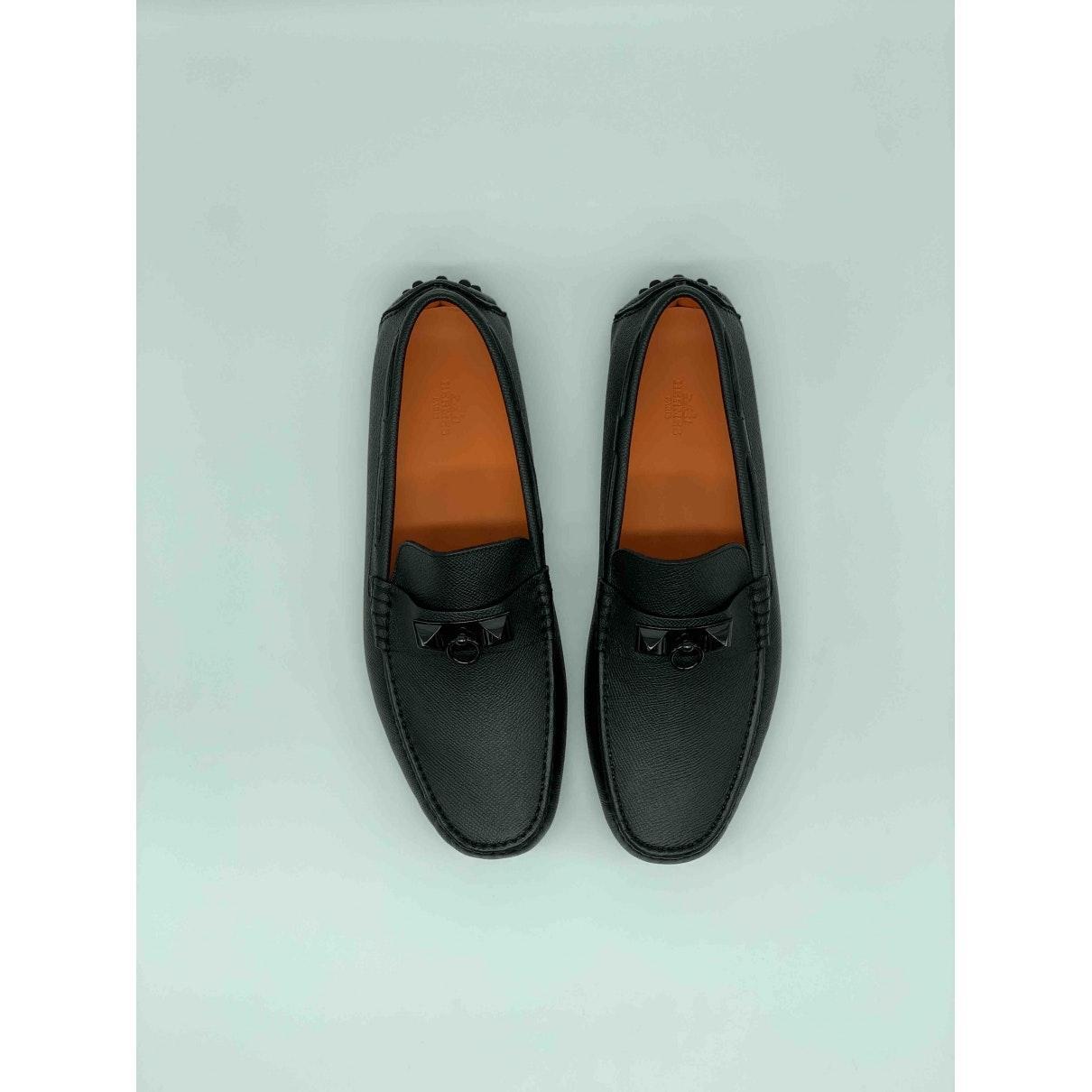 Mocasines en cuero negro Irving Hermès de hombre de color Negro