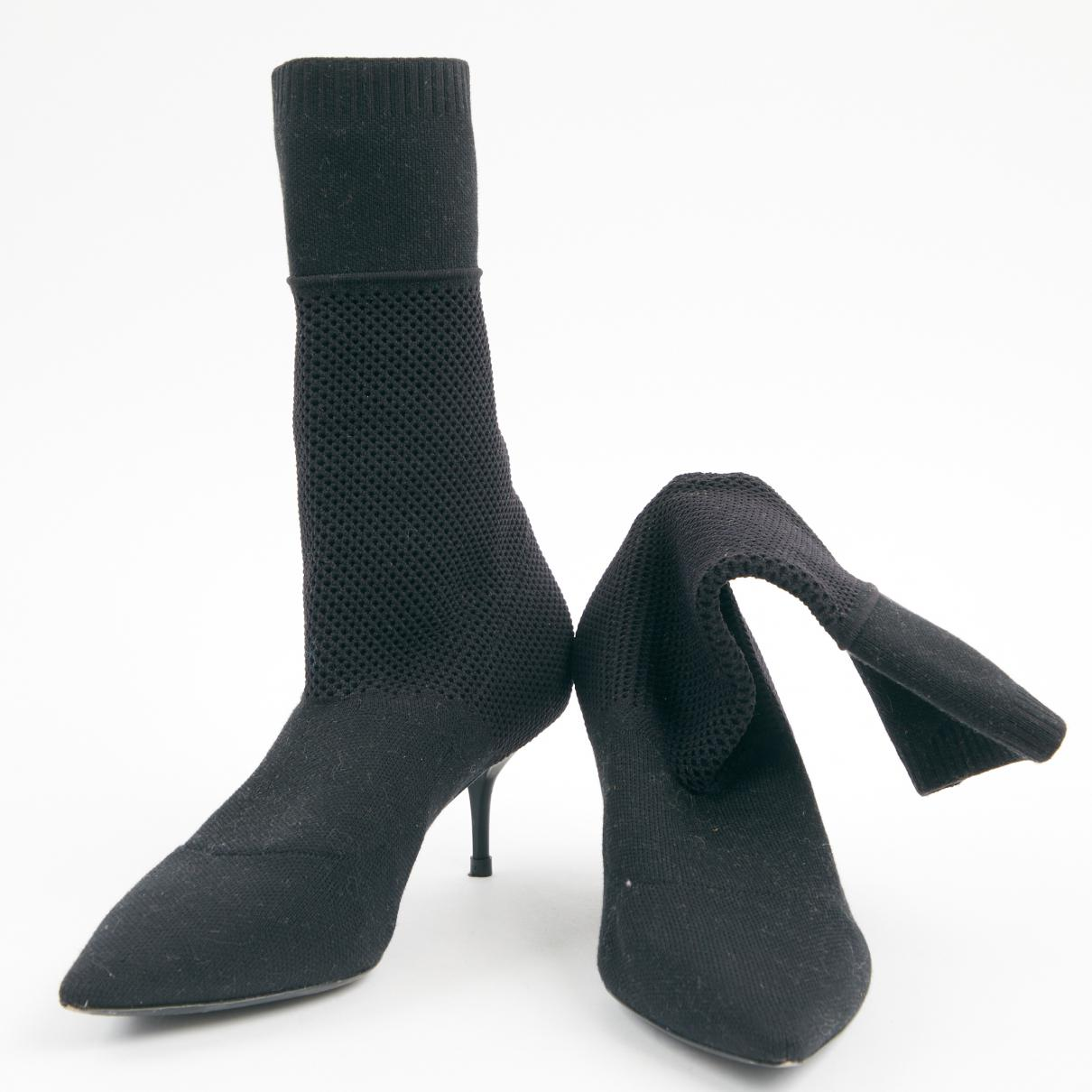 Burberry Cloth Boots in Black