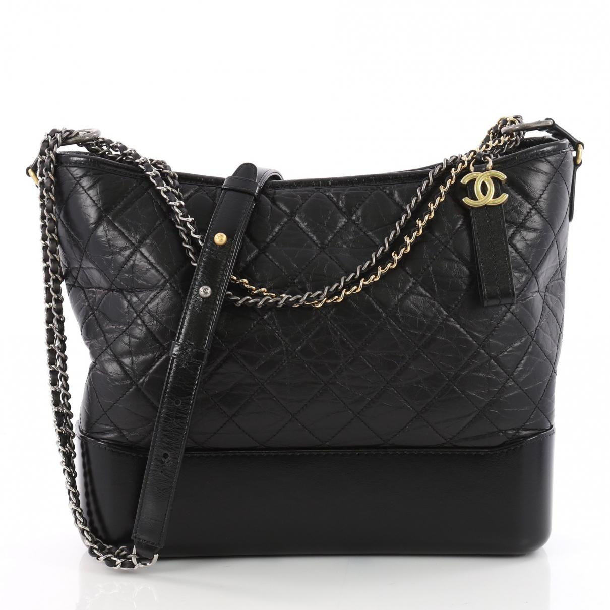 1a5634dc3813 Lyst - Chanel Pre-owned Gabrielle Leather Crossbody Bag in Black