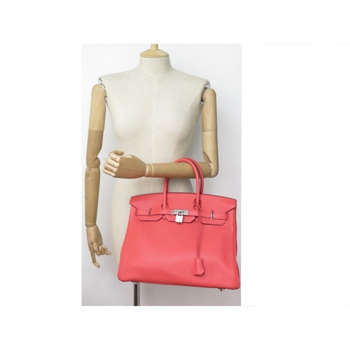 Sac à main Birkin 35 en Cuir Rose Hermès en coloris Rouge X5zA