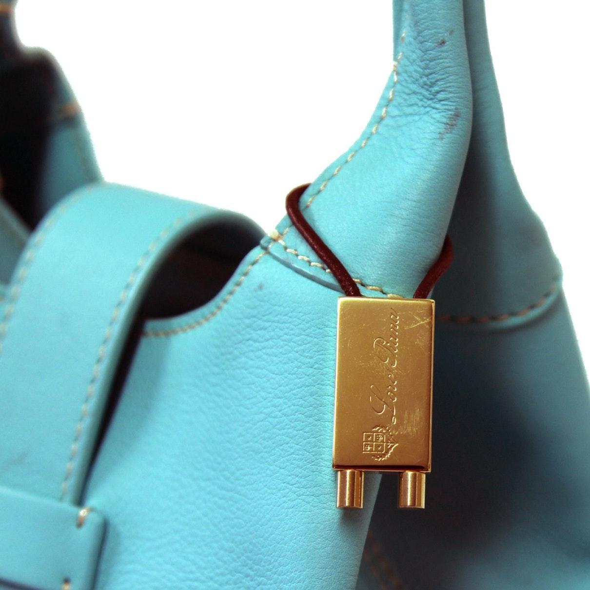Sac à main N en Cuir Turquoise Loro Piana en coloris Bleu WPUx
