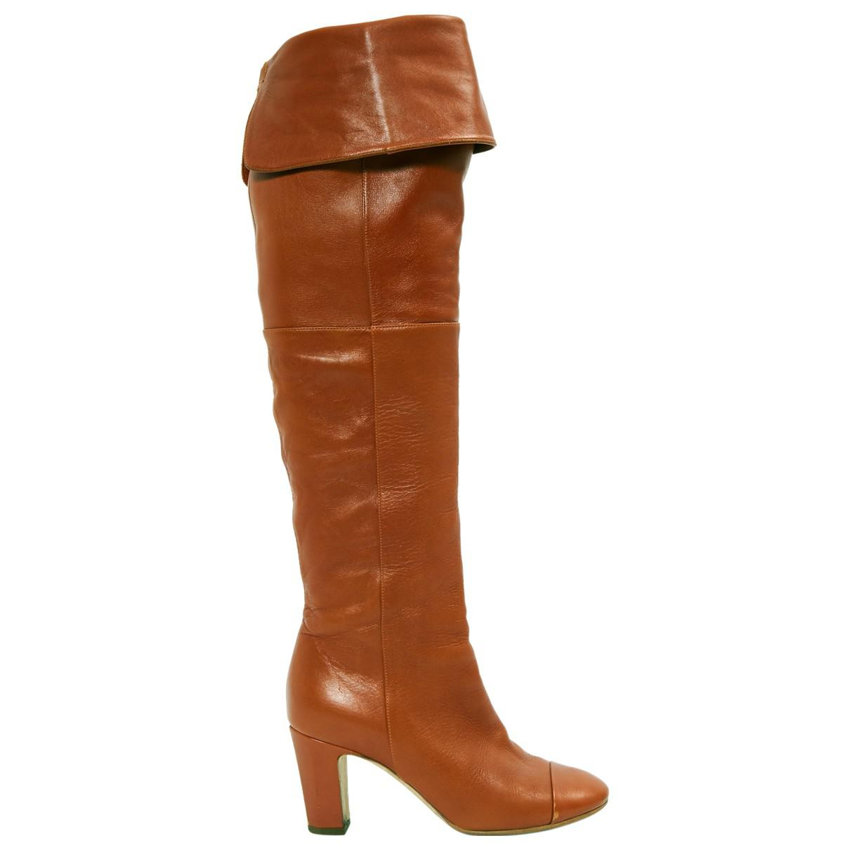 d385497904e8 Chanel Leather Boots in Brown - Lyst