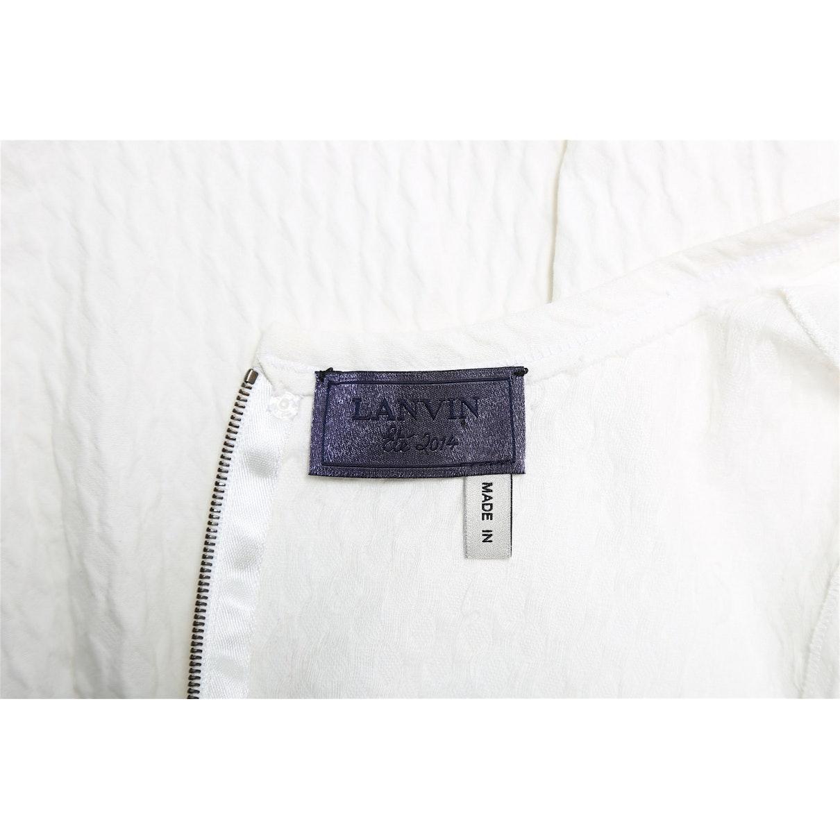 Vestido en algodón blanco Lanvin de Algodón de color Blanco