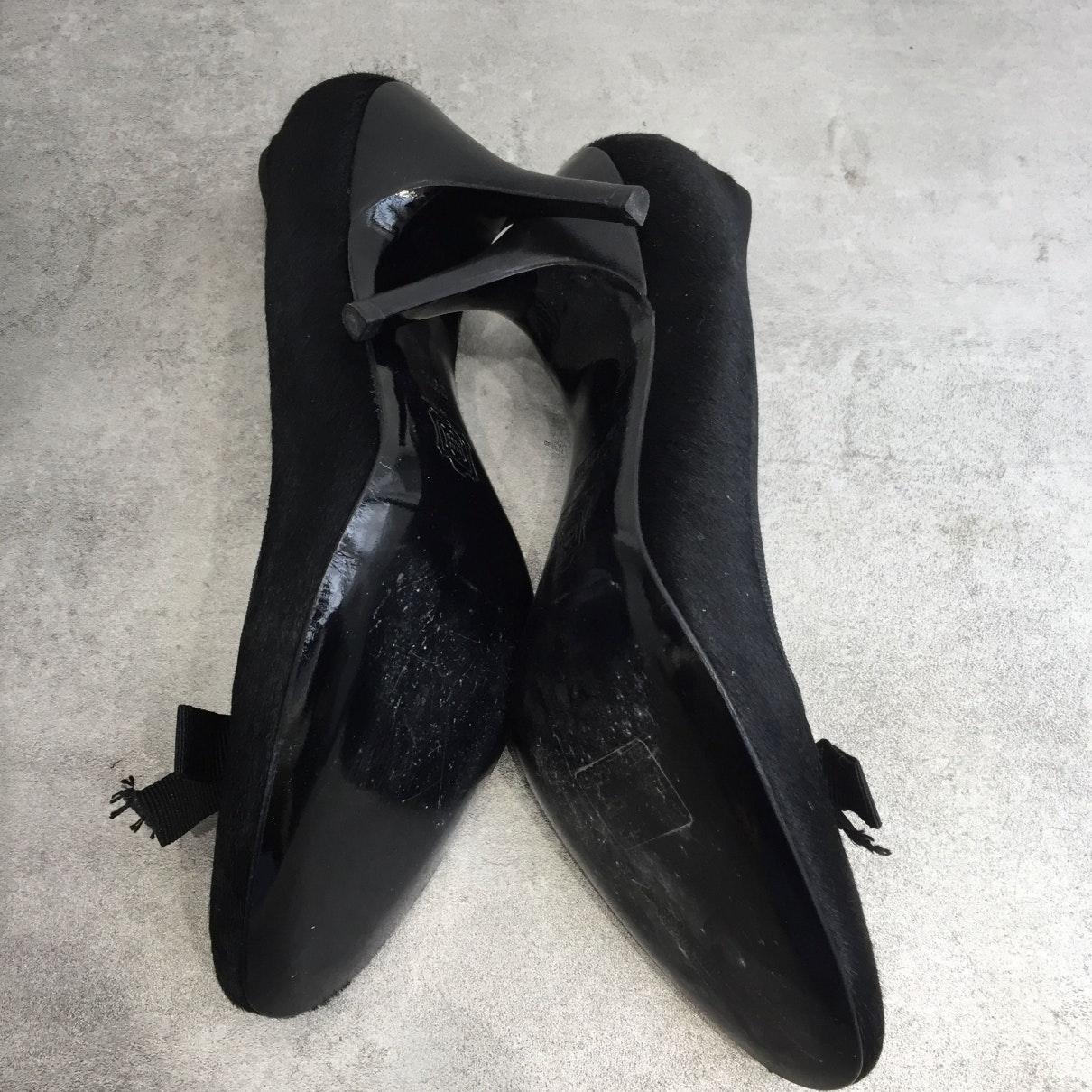 Tacones en piel de potro de imitación negro Lanvin de color Negro
