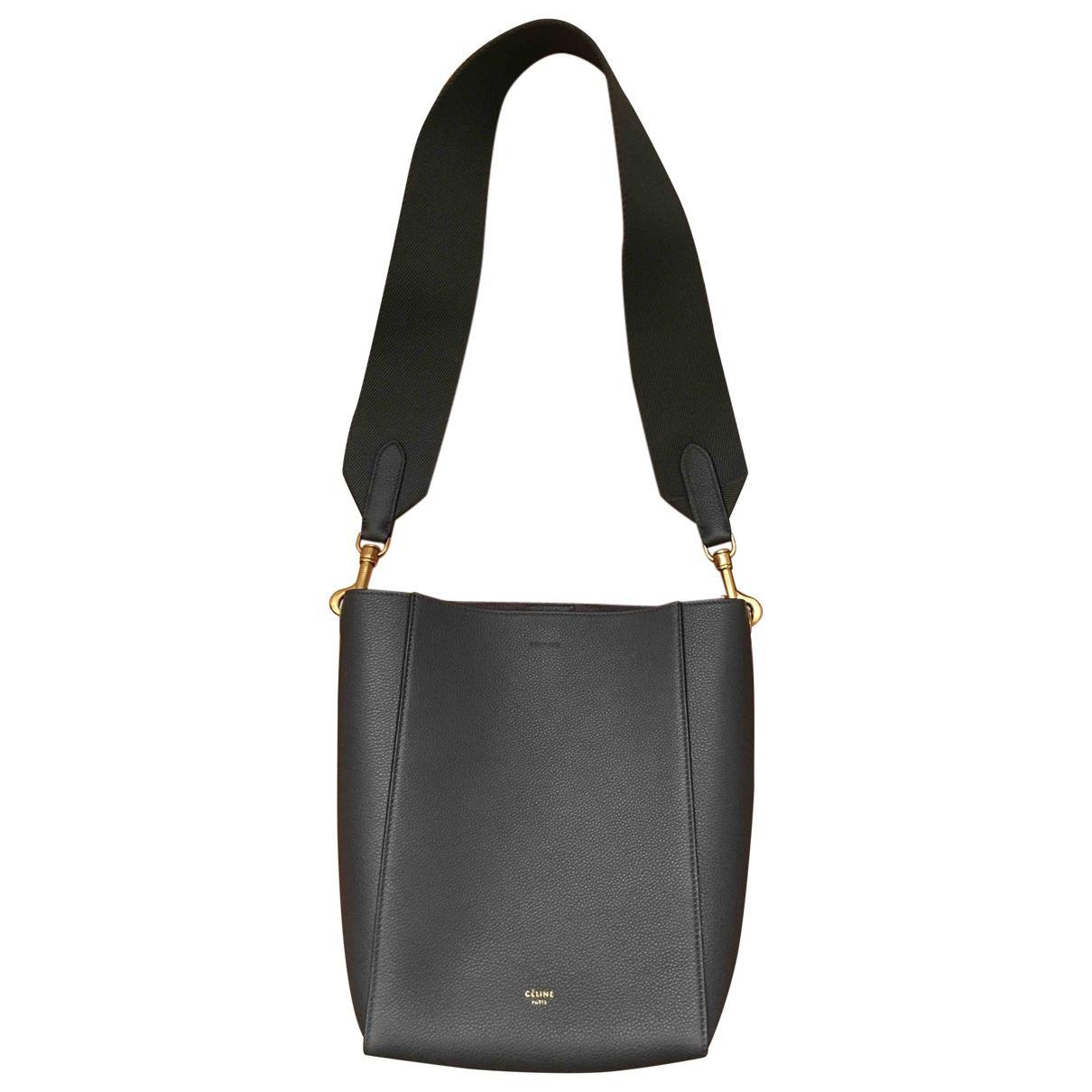 f48e3cab6601 Céline Seau Sangle Leather Handbag in Gray - Lyst
