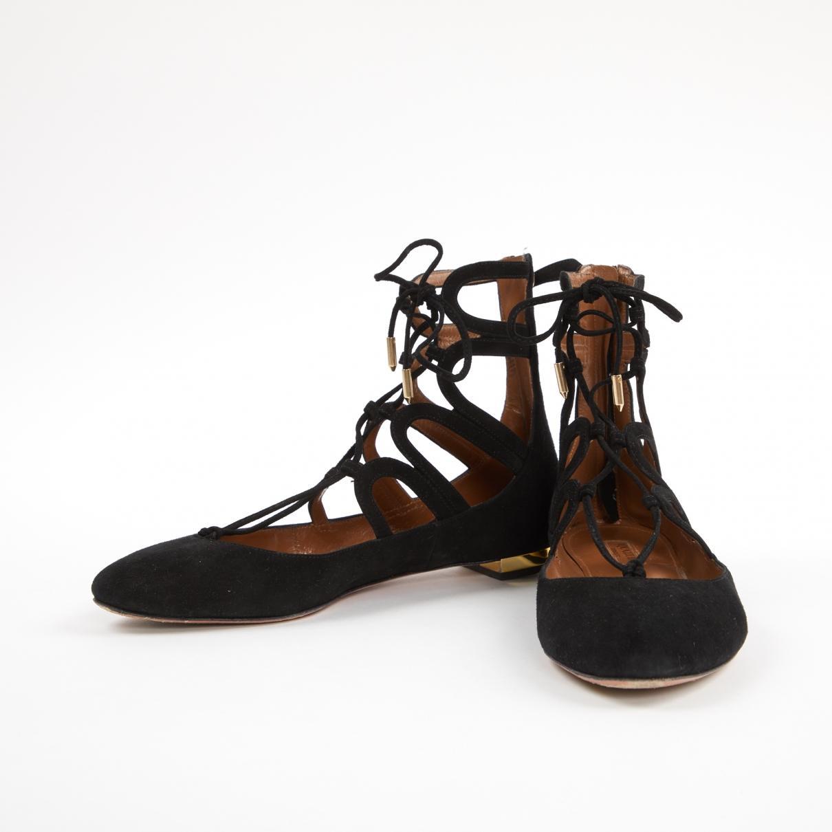 Bailarinas Aquazzura de Ante de color Negro