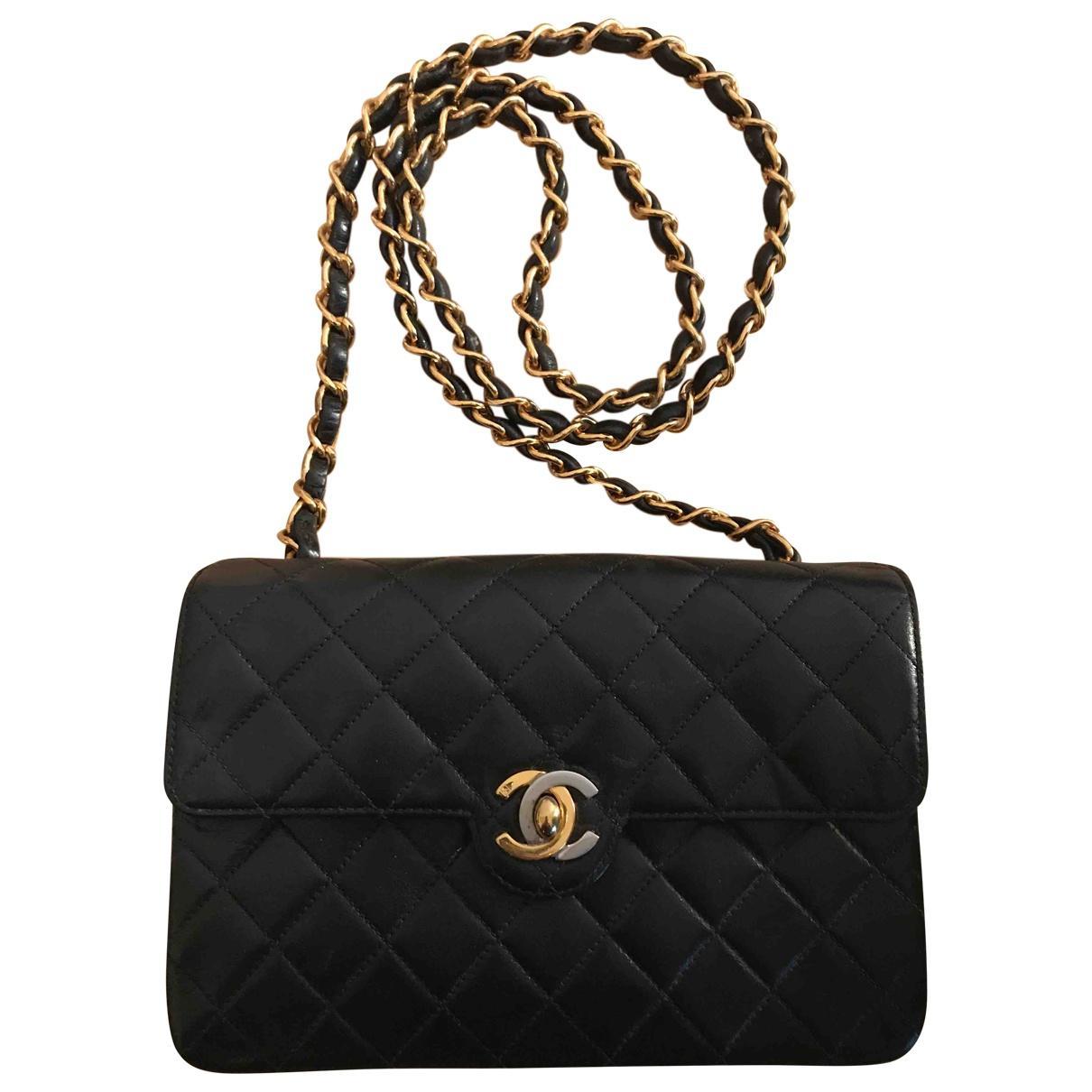 2d6228a825b8 Lyst - Chanel Leather Crossbody Bag in Black