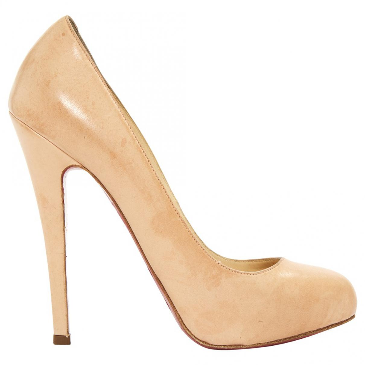 960d2bdb587f Lyst - Christian Louboutin Leather Heels in Natural