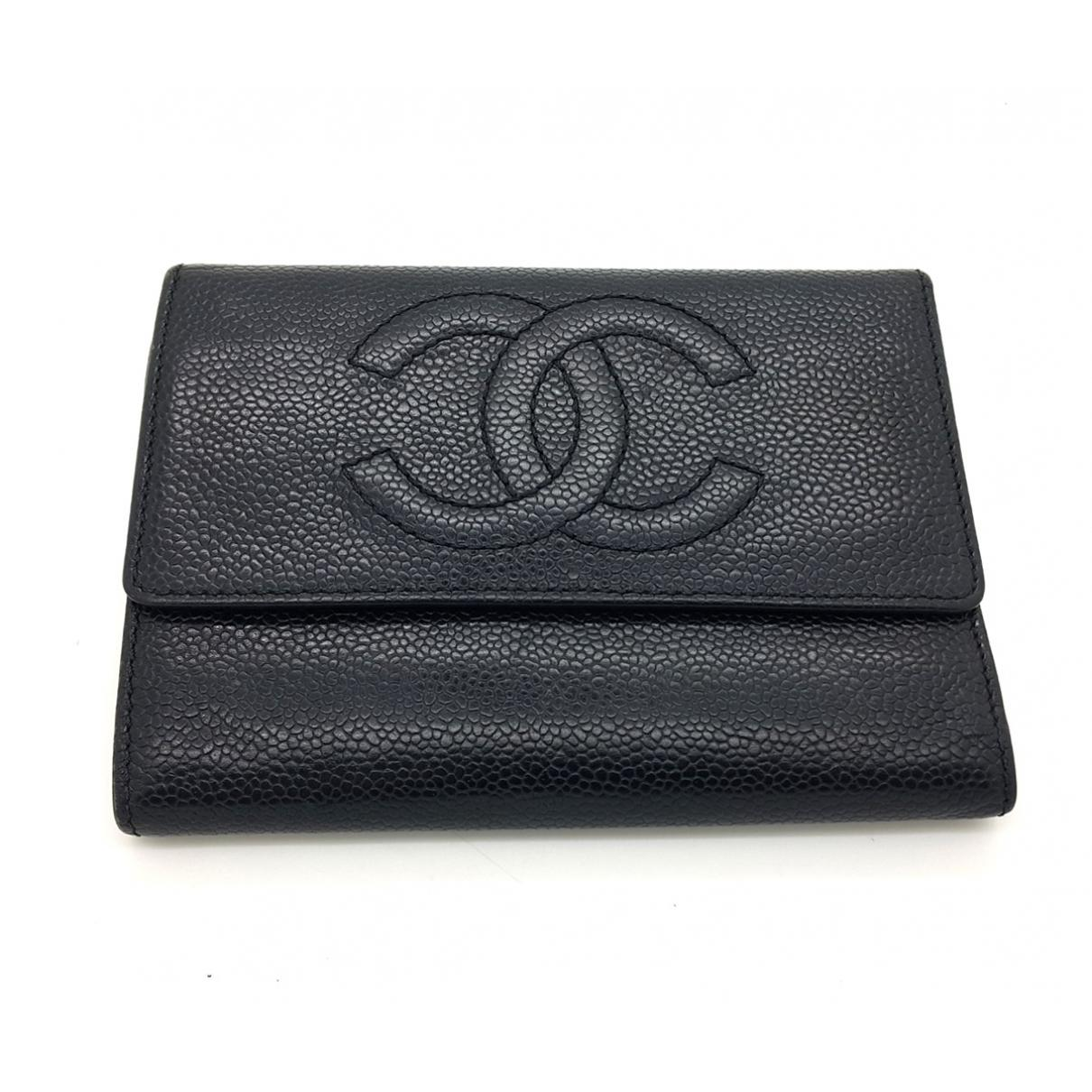 8e8317522c Lyst - Chanel Pre-owned Vintage Black Leather Wallets in Black