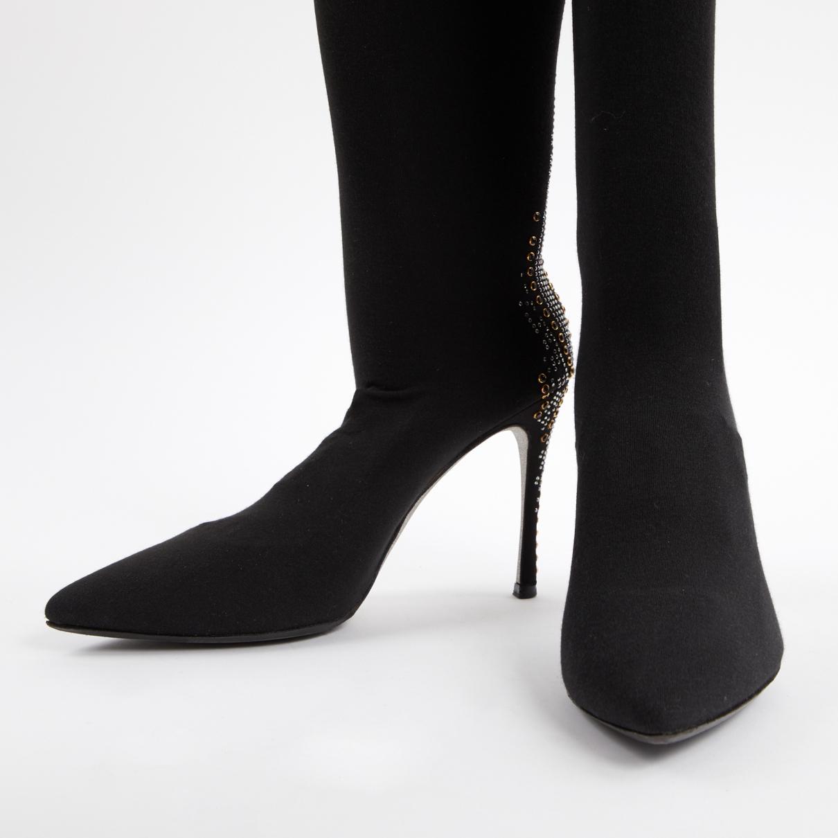 Botas de Lona Rene Caovilla de Cuero de color Negro
