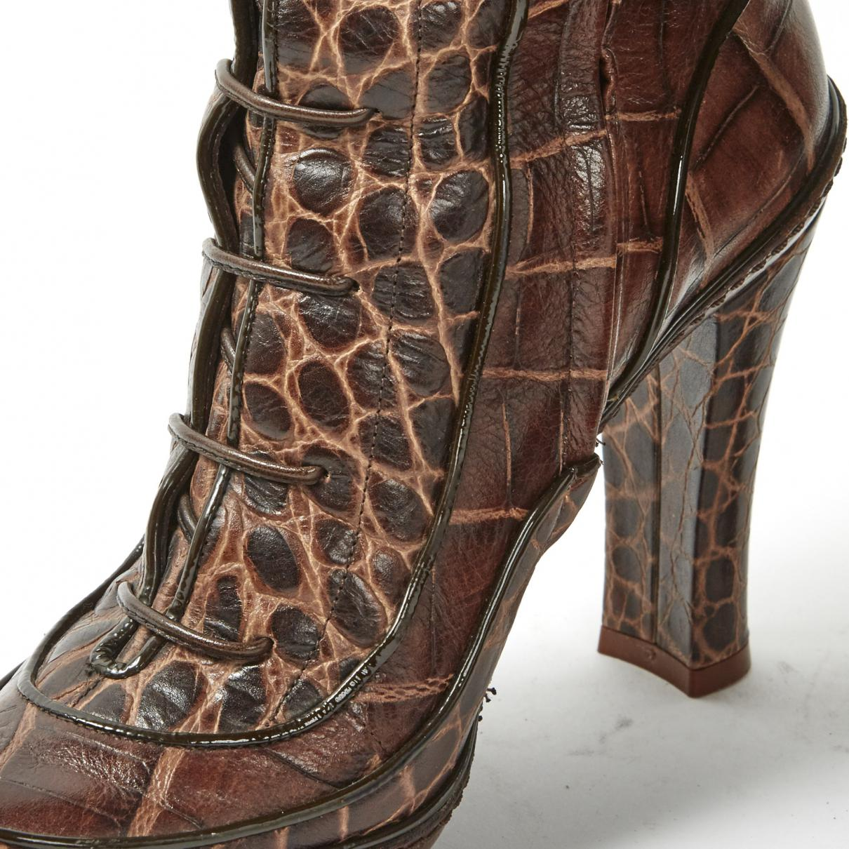 Celine Leather Boots in Brown