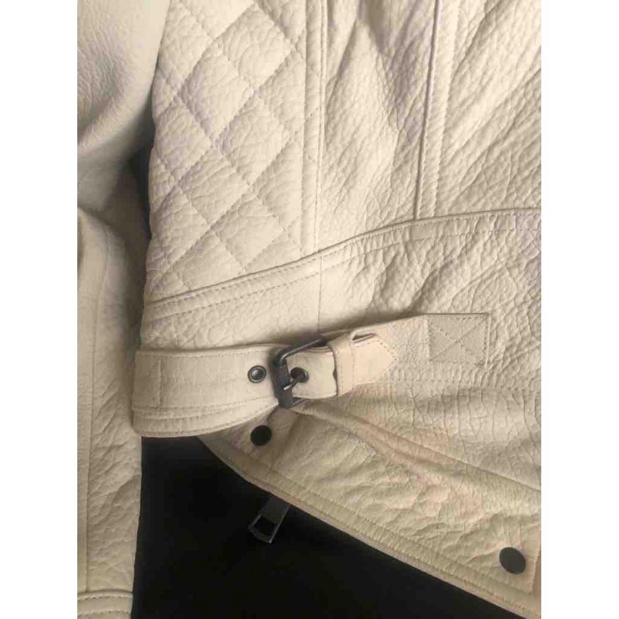 Cazadora de Cuero Burberry de Cuero de color Blanco
