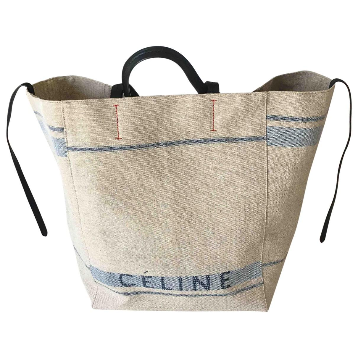e8350e24cf1d Céline Pre-owned Cabas Phantom Cloth Tote in Natural - Lyst