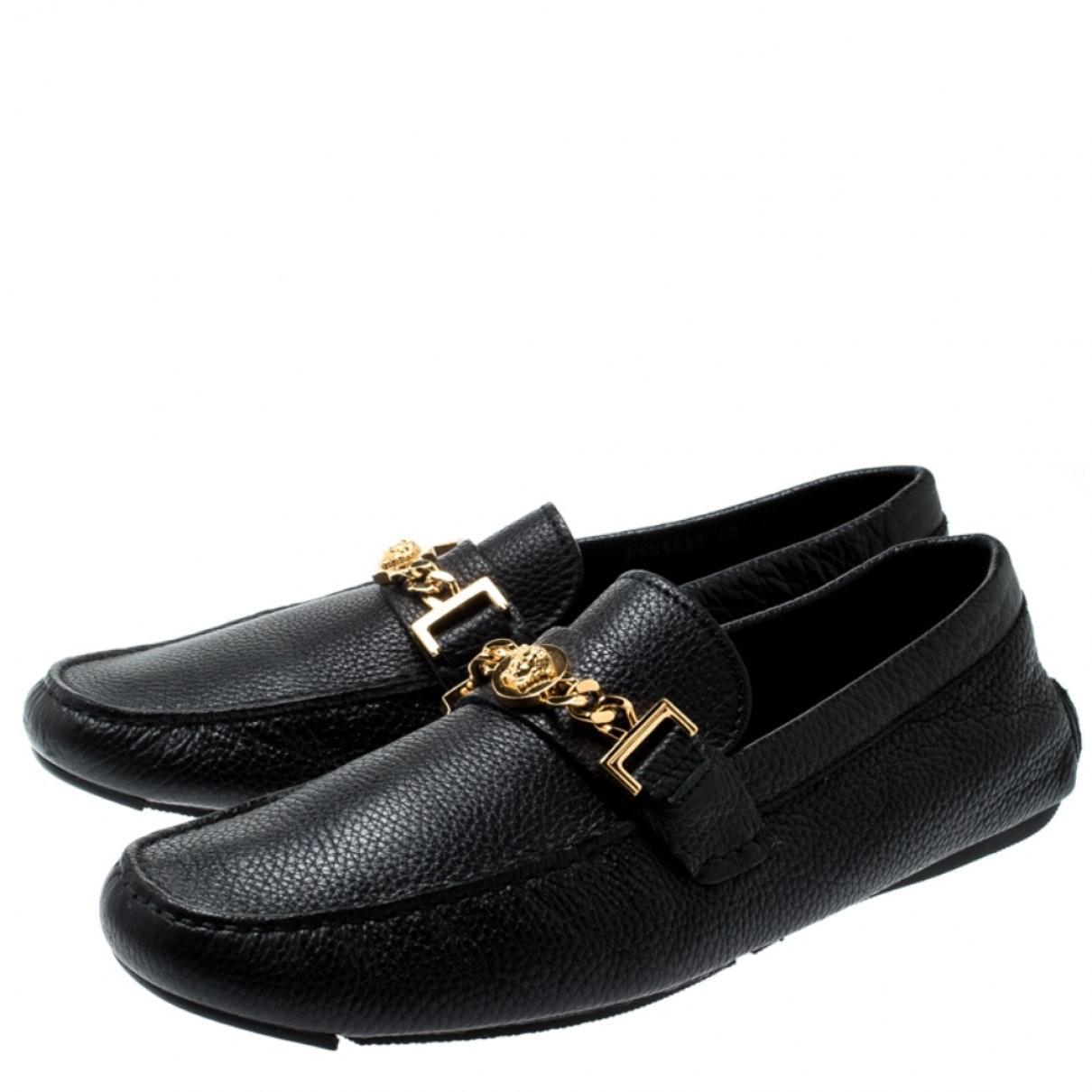 Mocasines en cuero negro Versace de Cuero de color Negro para hombre