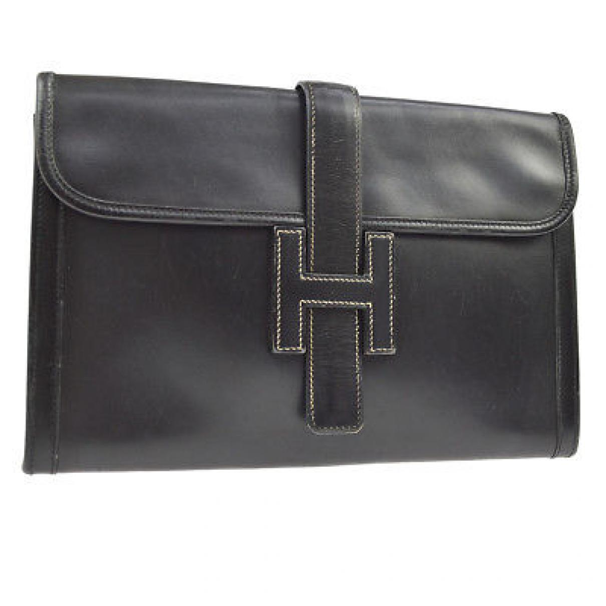 2b821b9c536 Hermès Vintage Jige Black Leather Clutch Bag in Black - Lyst