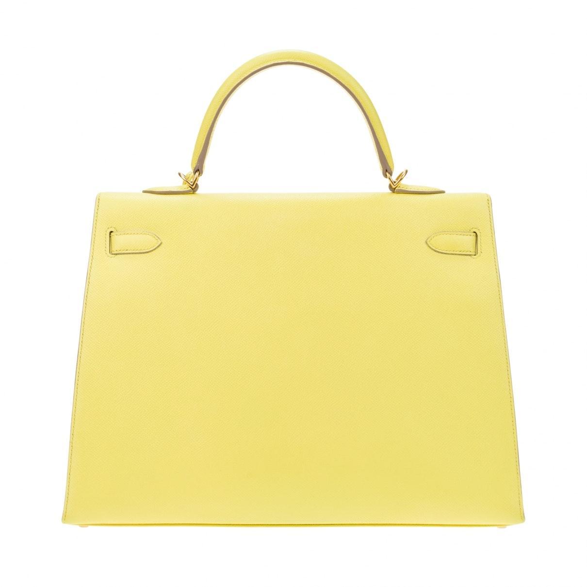 Sacs à main Kelly 35 Cuir Hermès en coloris Jaune 9Rot