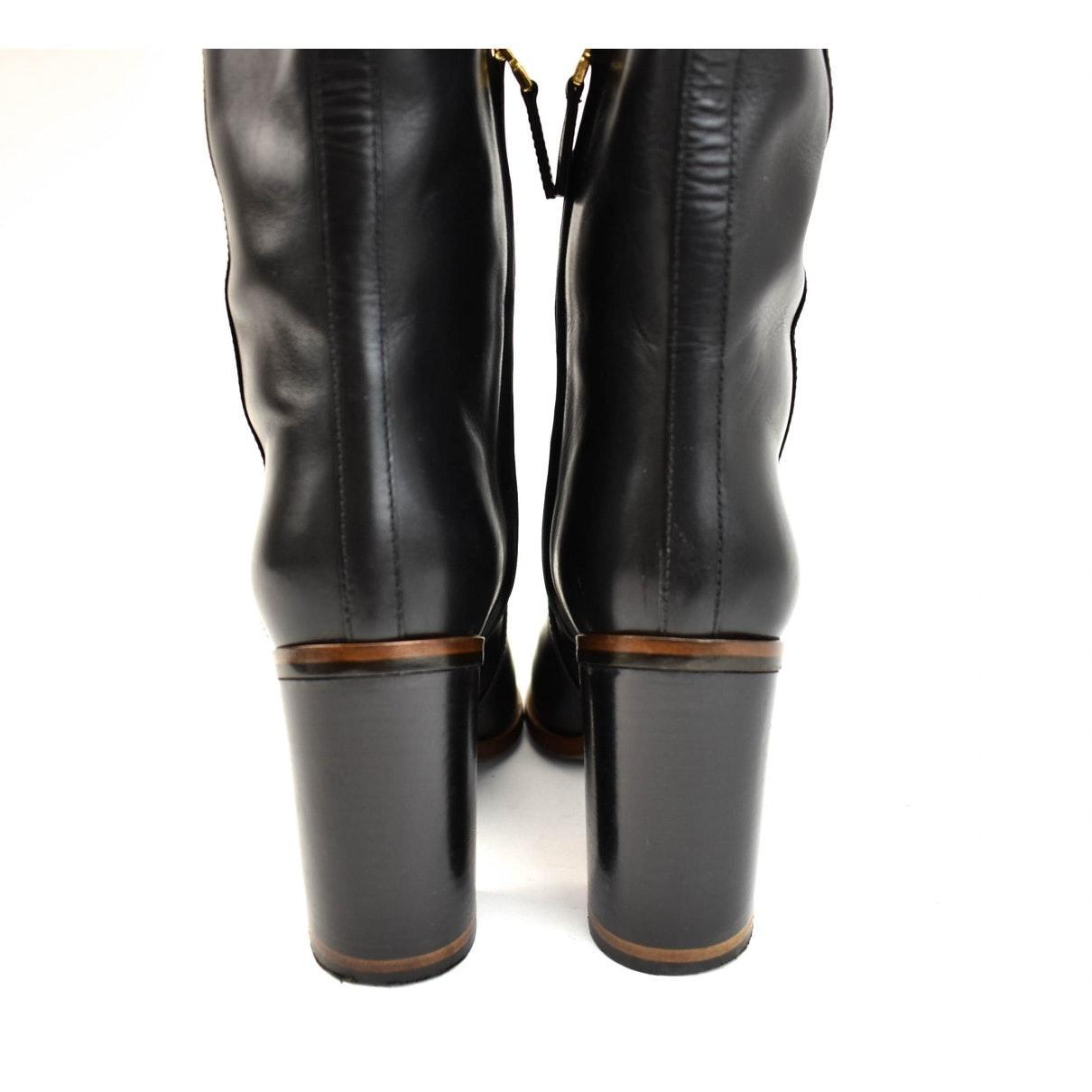 Botas en cuero negro Fendi de color Negro