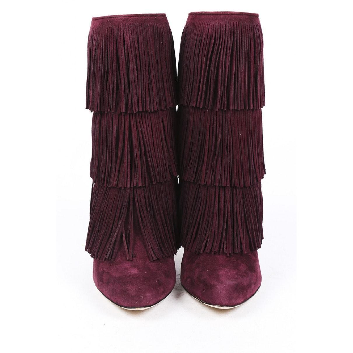 Botines en cuero violeta Paul Andrew de color Morado