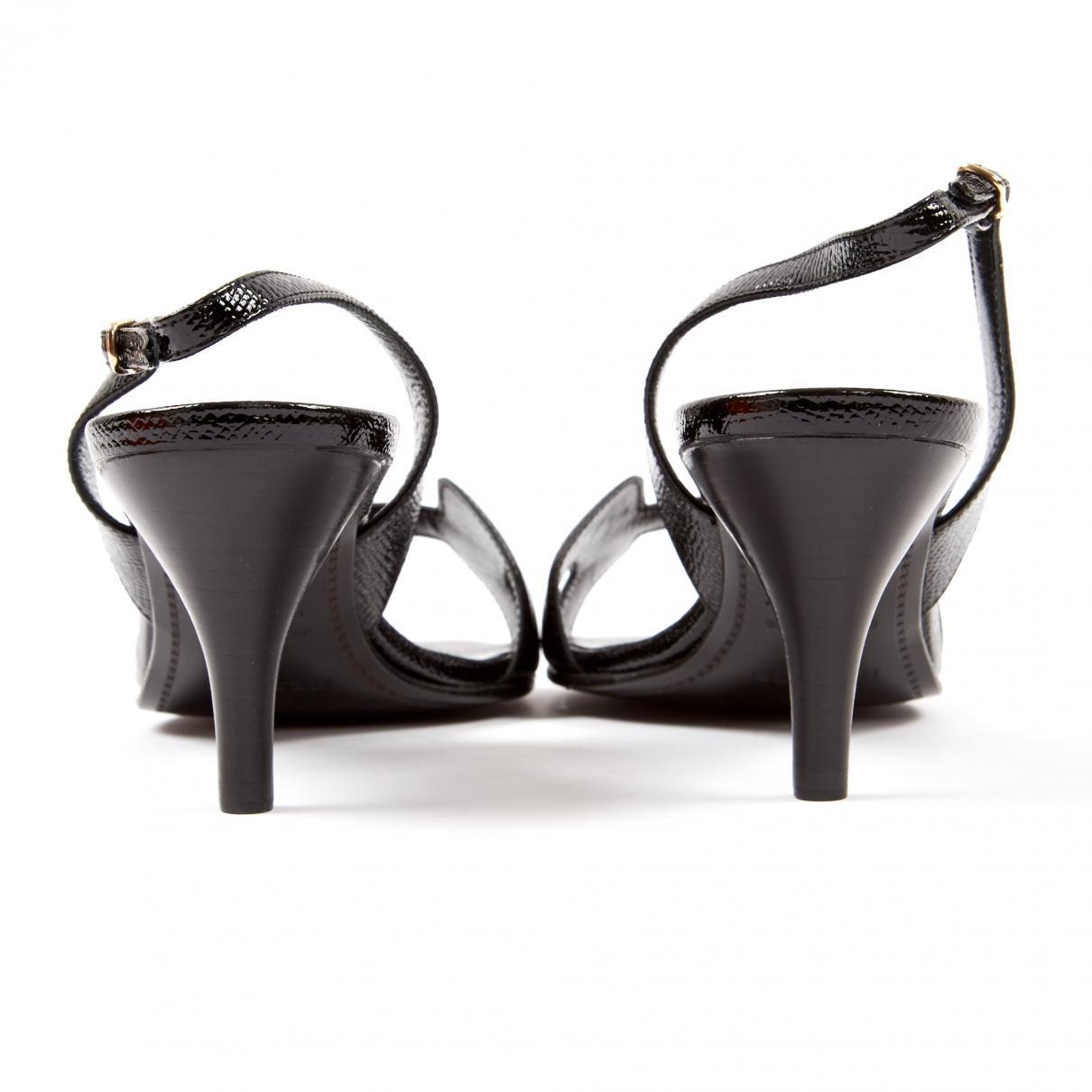 Tacones de Charol Hermès de Cuero de color Negro