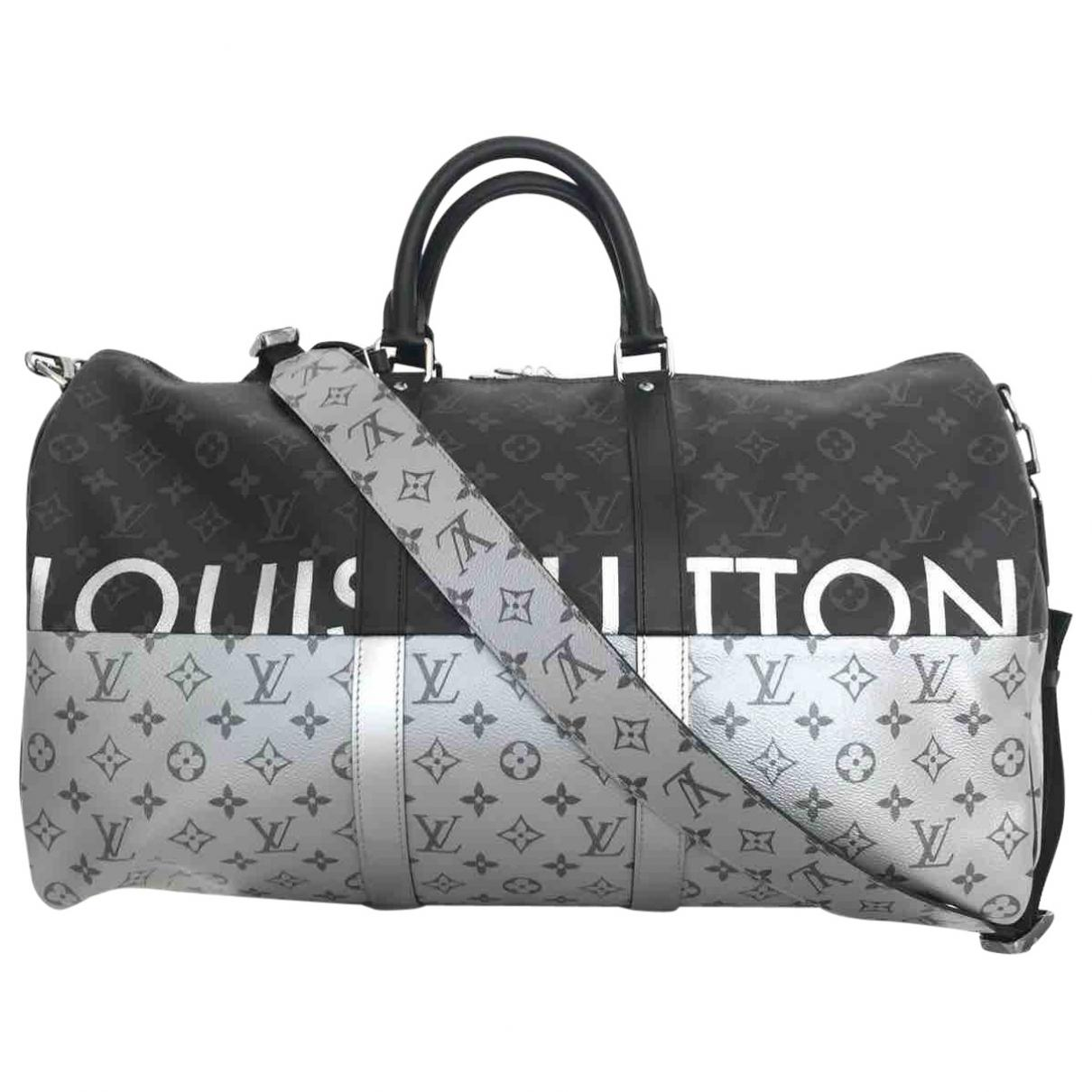 Lyst - Louis Vuitton Keepall Cloth Weekend Bag in Gray for Men f91cbe6723d