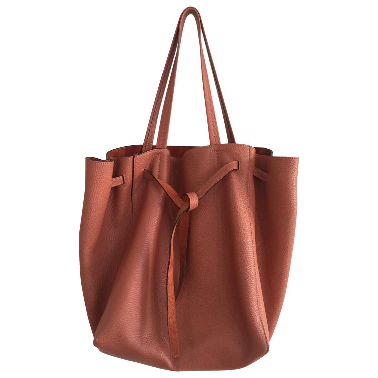 df2b60c337 Lyst - Céline Pre-owned Cabas Phantom Leather Handbag in Red