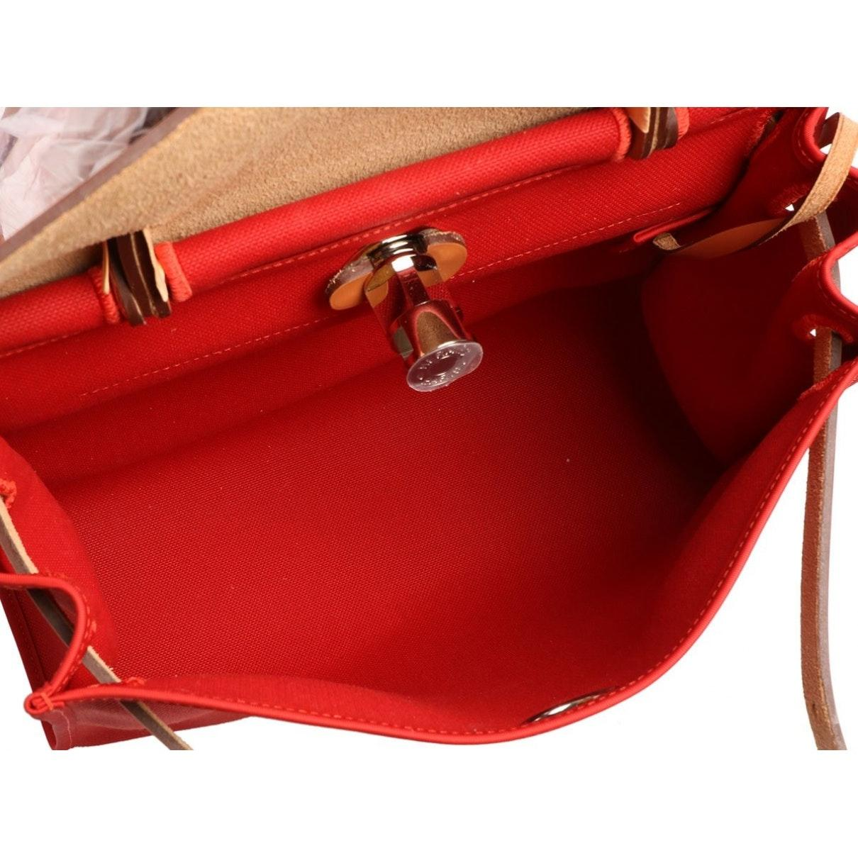 Sac à main Herbag en Toile Rouge Hermès en coloris Rouge rLbT