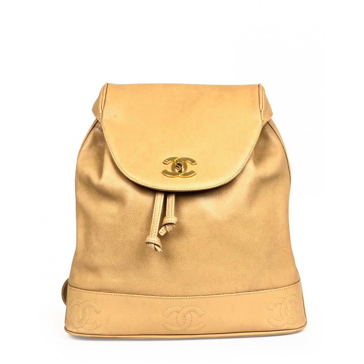 528f0a5a45bf Chanel. Women's Natural Vintage Beige Leather Backpacks. £1,705 From Vestiaire  Collective