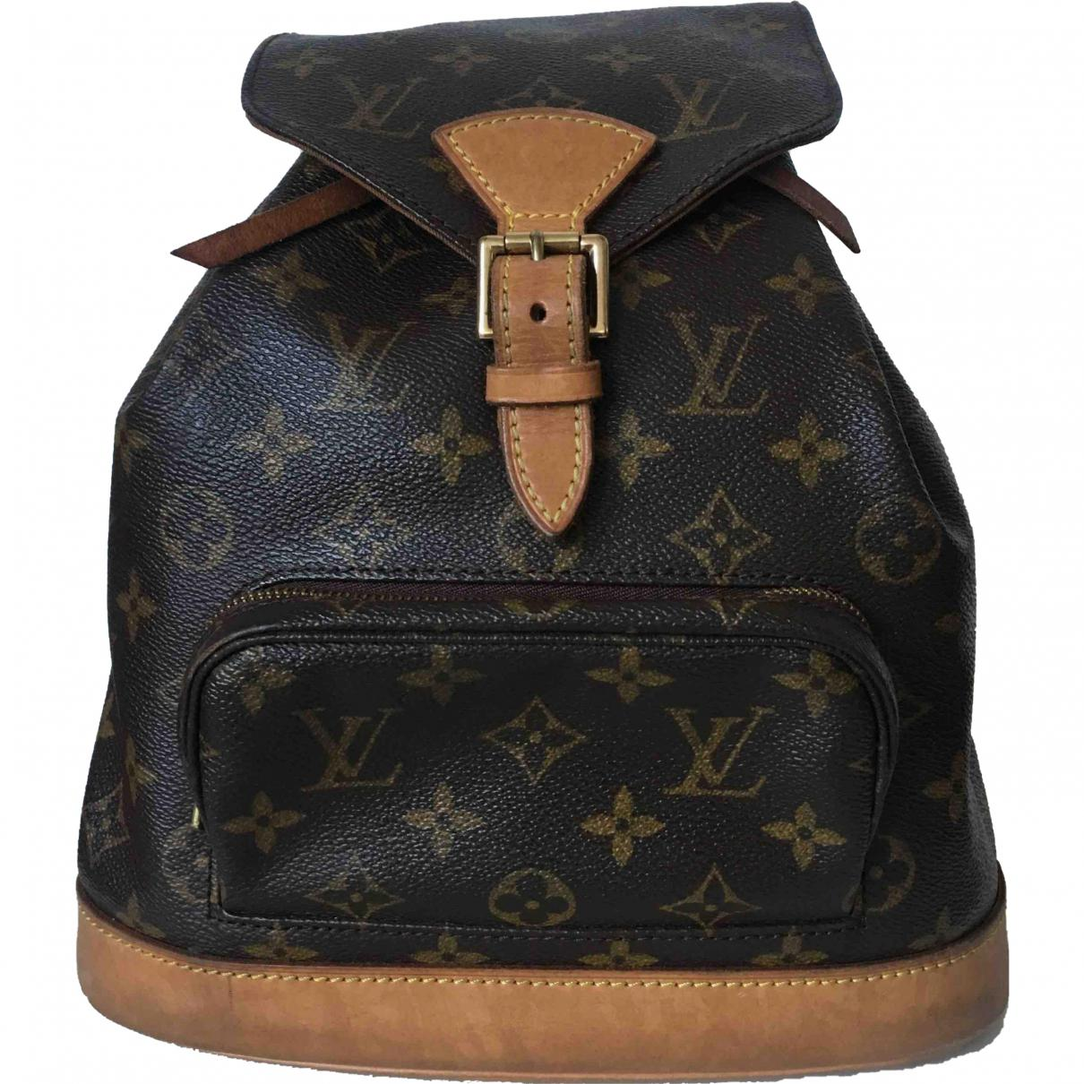Lyst - Louis Vuitton Montsouris Cloth Backpack in Brown e42bcd023eb