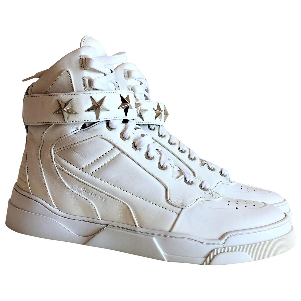 5537337ac93 Lyst - Givenchy Pre-owned Leather High Trainers in White