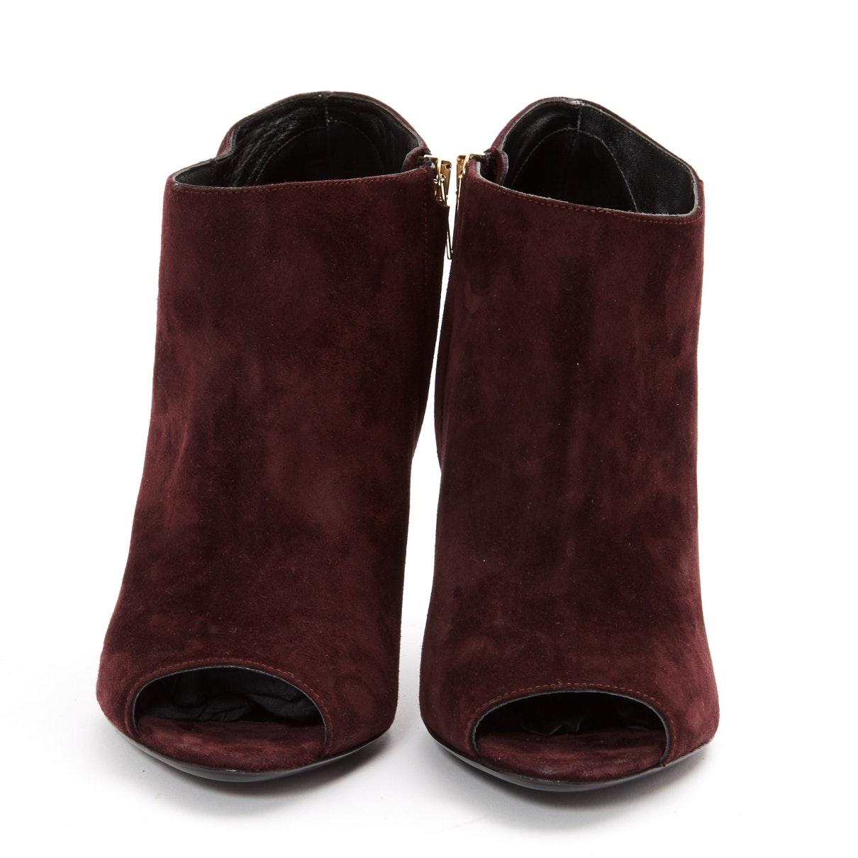 Burberry Suede Ankle Boots in Burgundy (Purple)
