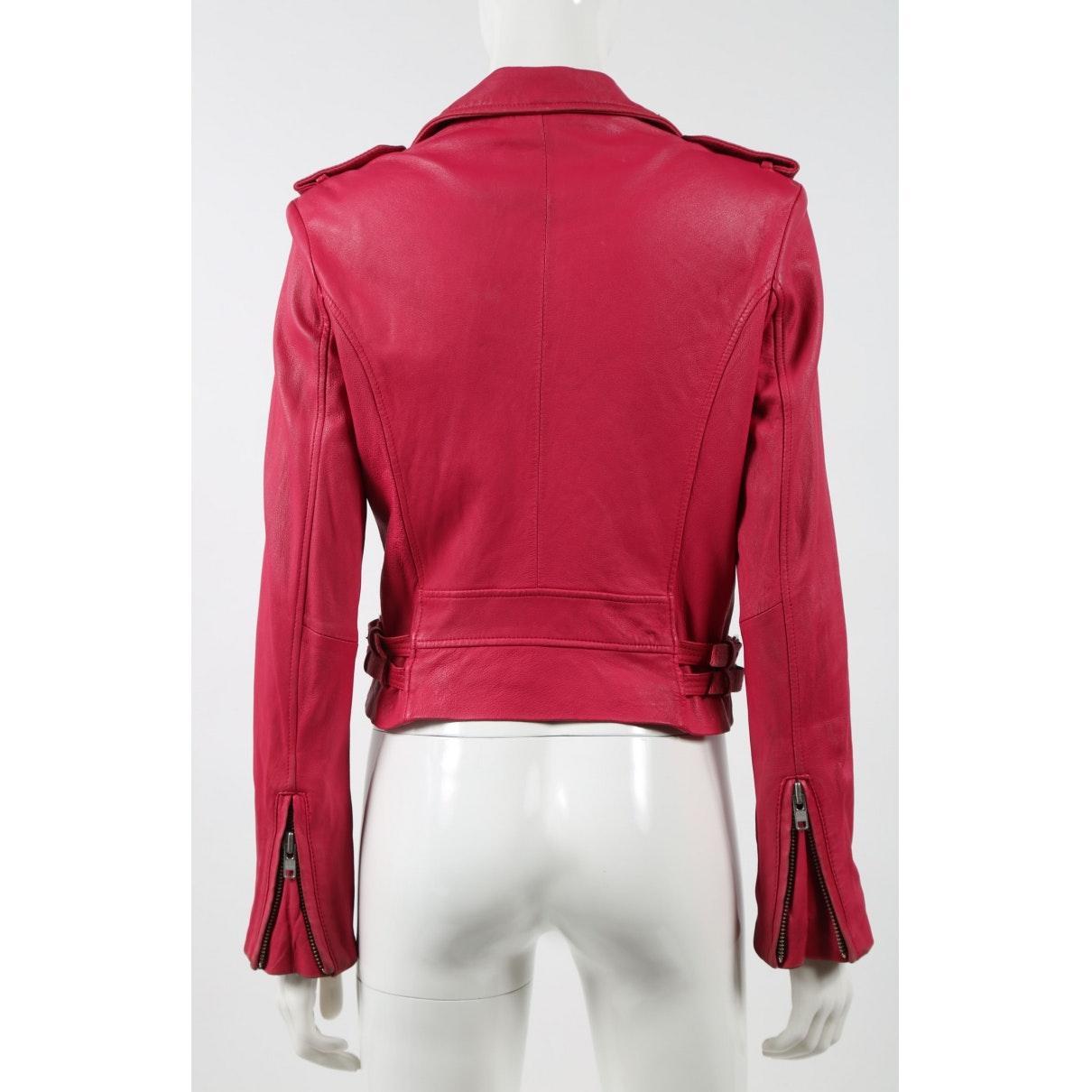 Cazadora en cuero rosa IRO de Cuero de color Rosa