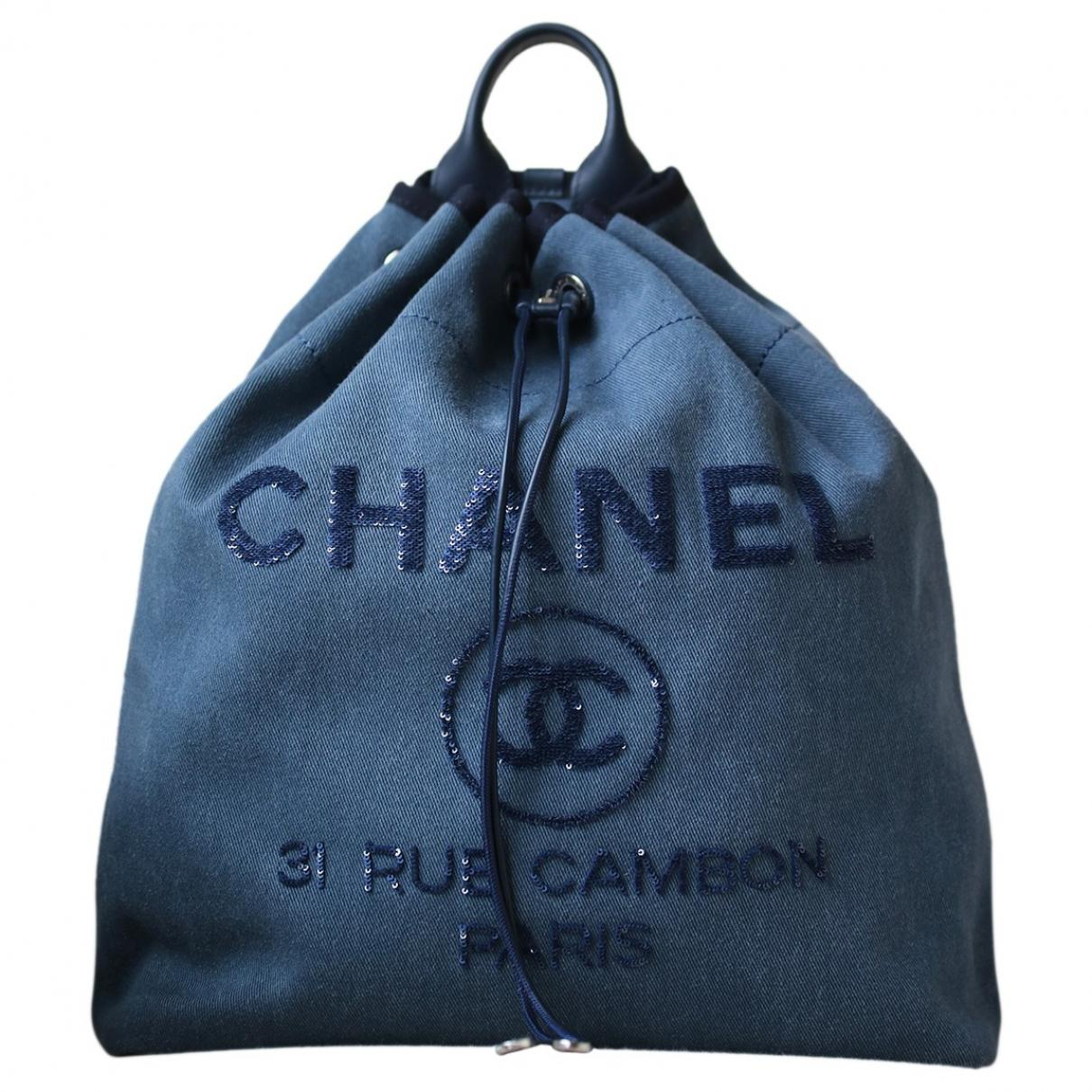 Chanel Deauville Cloth Backpack in Blue - Lyst d7d1c3654c3b0