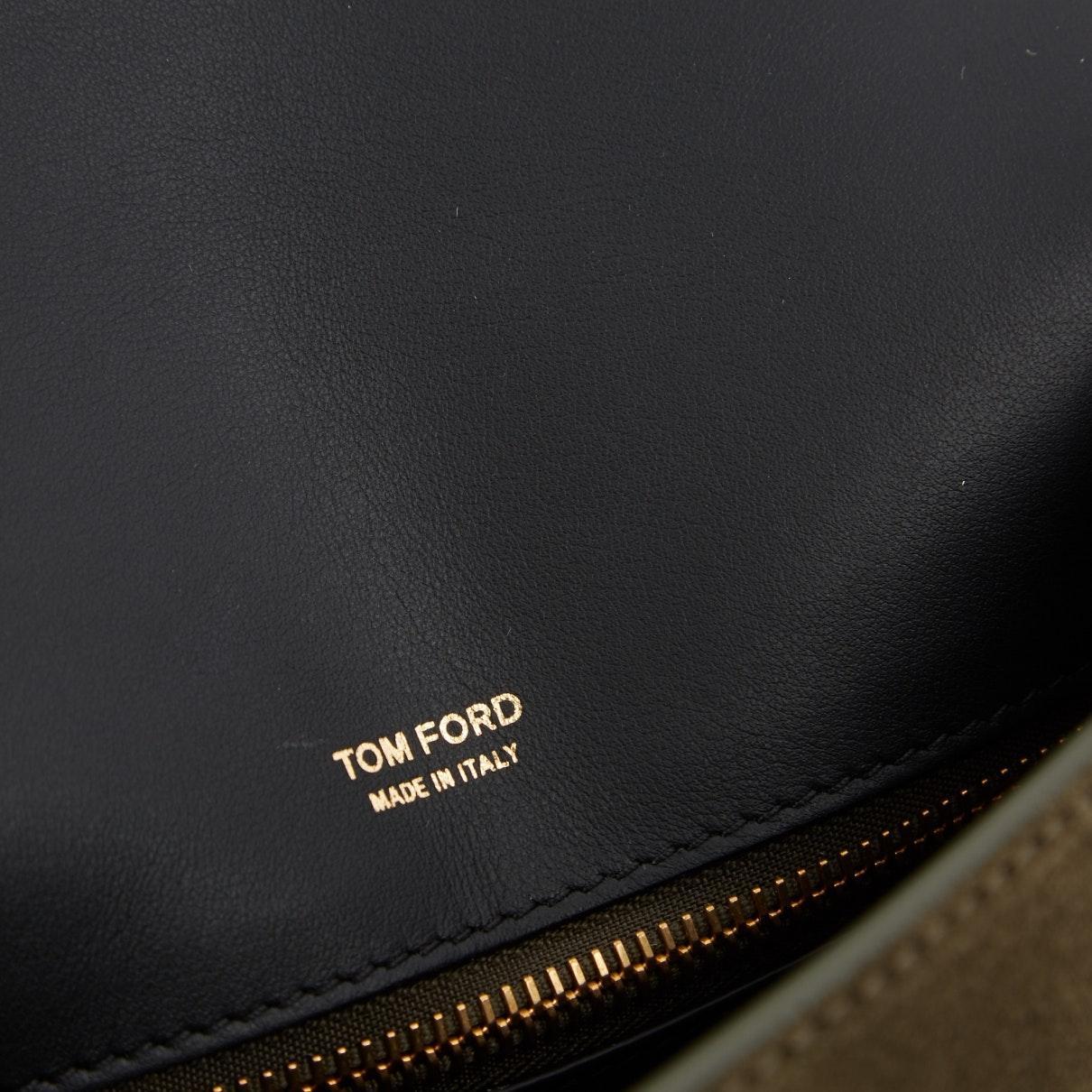Sac à main en Suede Kaki Tom Ford Rpl3