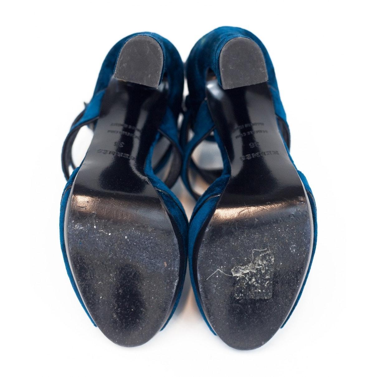 Tacones de Terciopelo Hermès de Ante de color Azul
