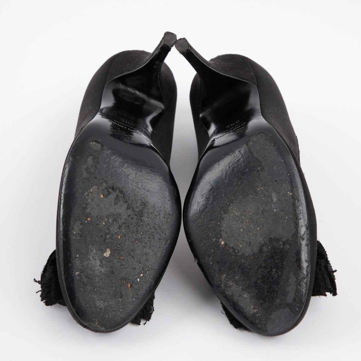 Tacones en lona negro Lanvin de Raso de color Negro
