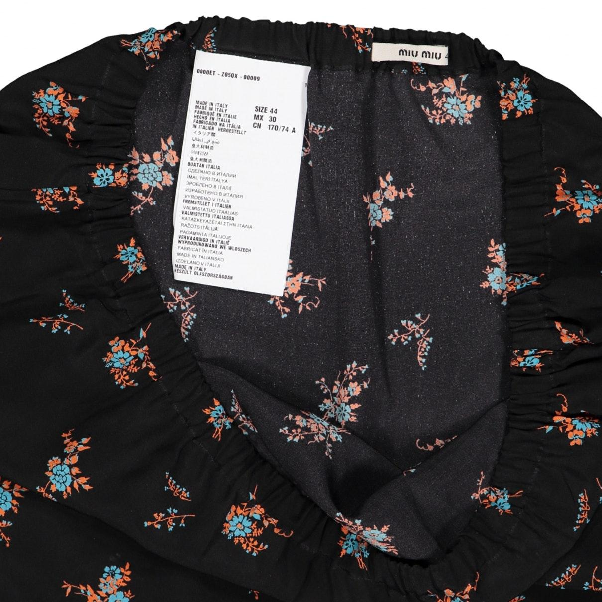 Falda en seda multicolor N Miu Miu de color Negro