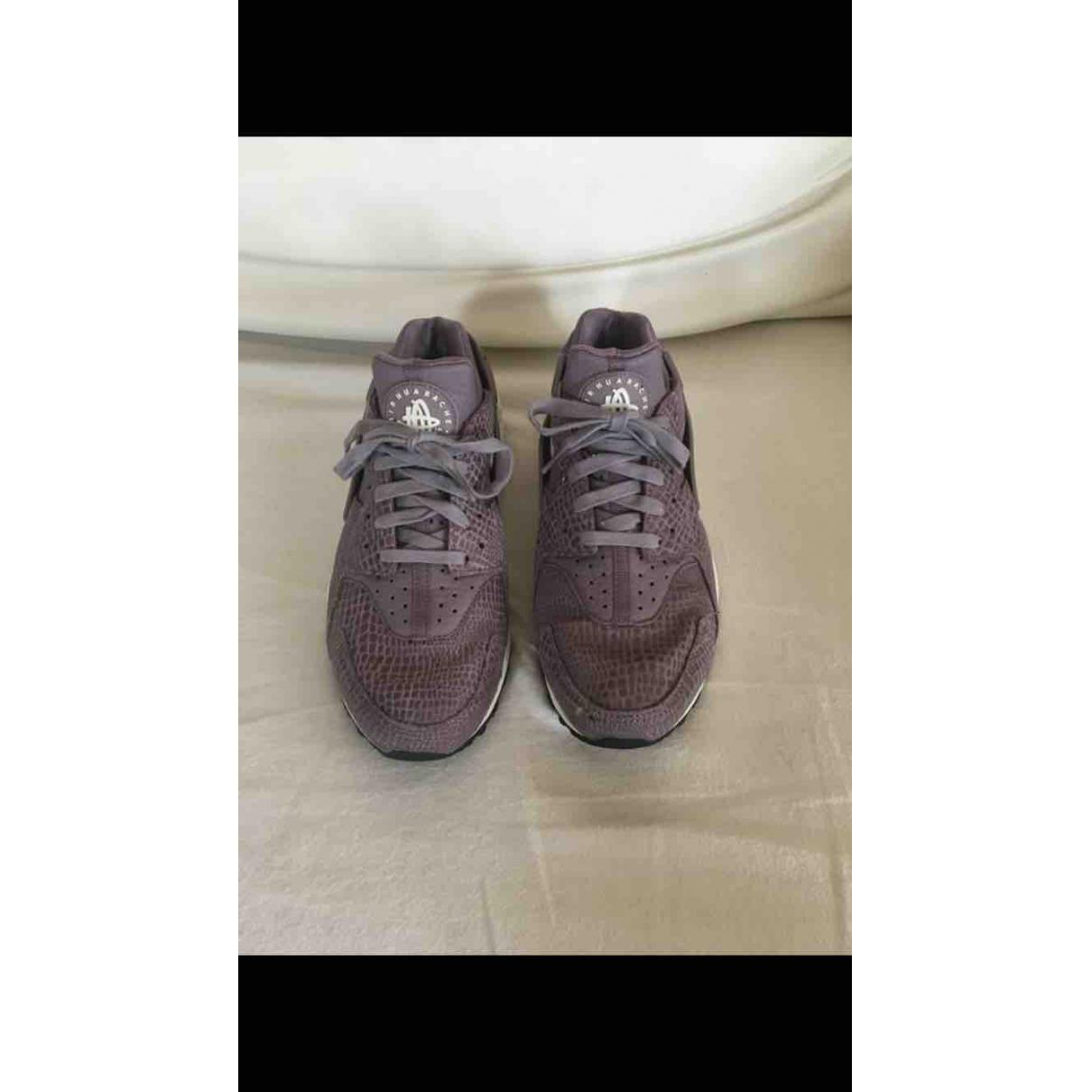 cheap for discount be46e 39541 best price nike pre owned huarache purple leather trainers lyst. view  fullscreen 2685e 5b708