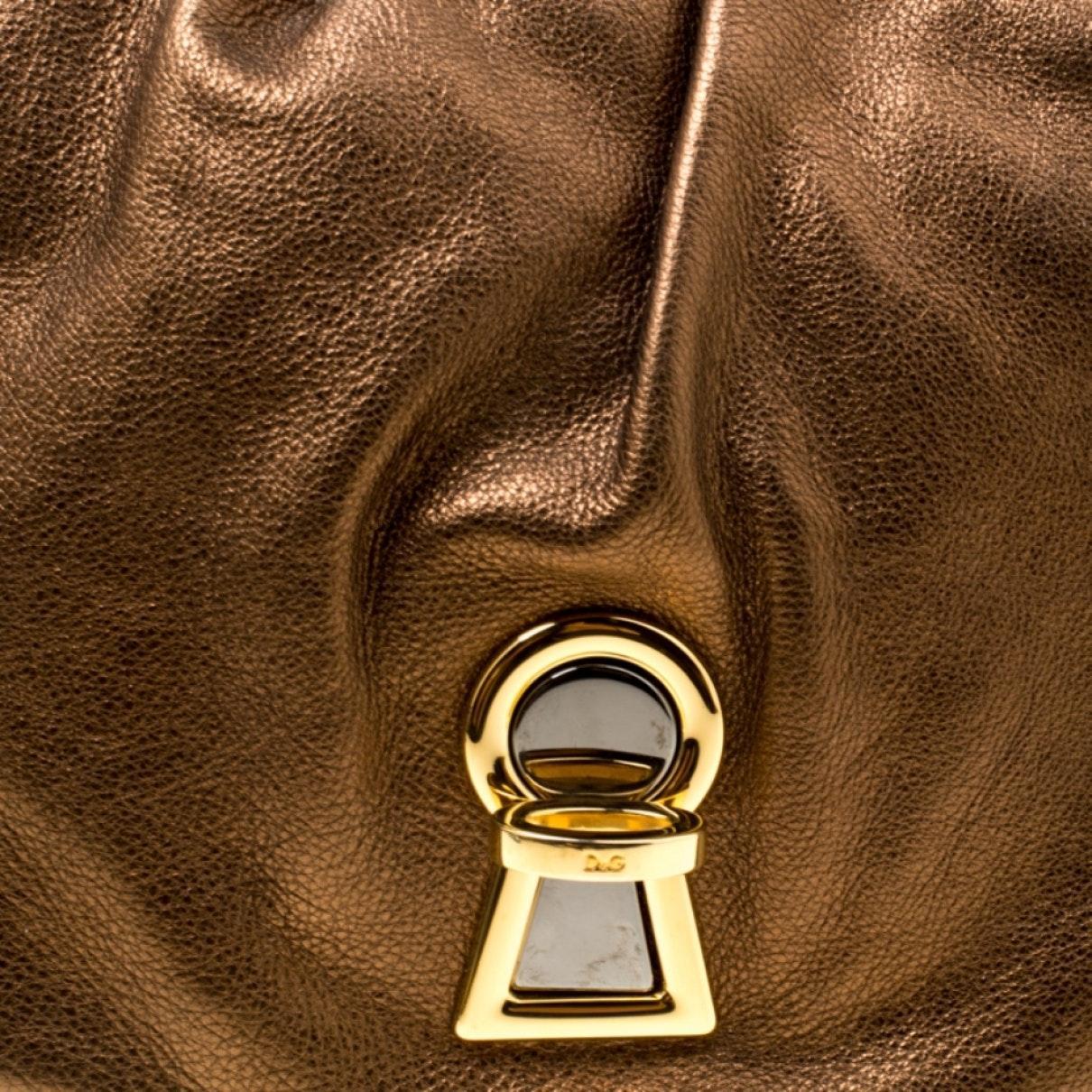Sac à main en Cuir Métallisé Cuir Dolce & Gabbana en coloris Marron 9bYq