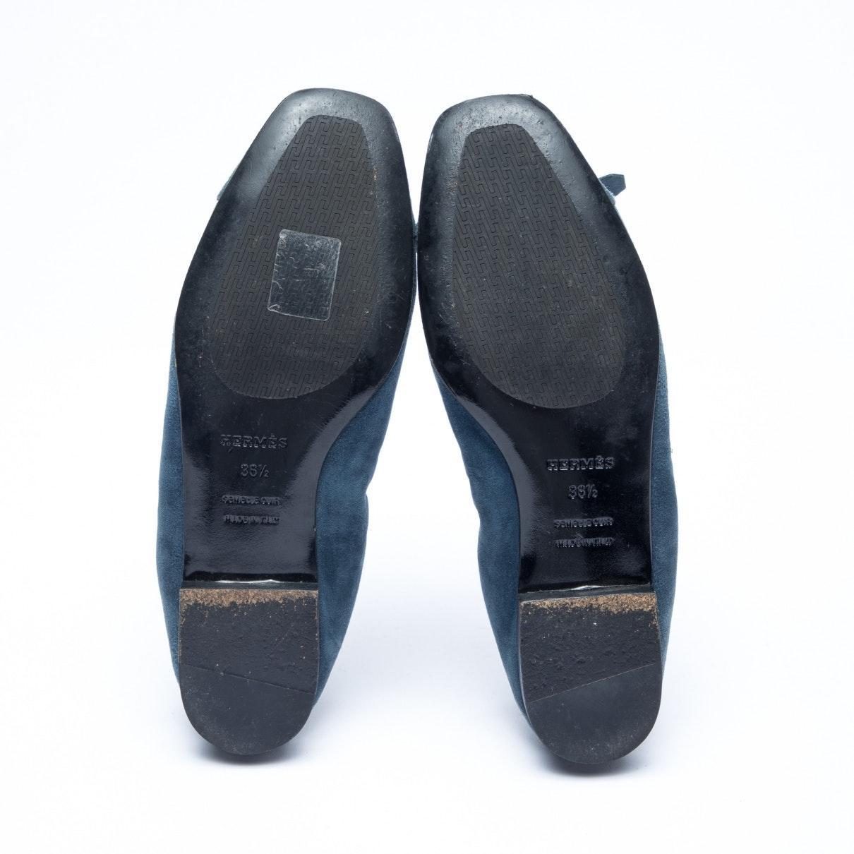Mocasines en ante azul Hermès de color Azul