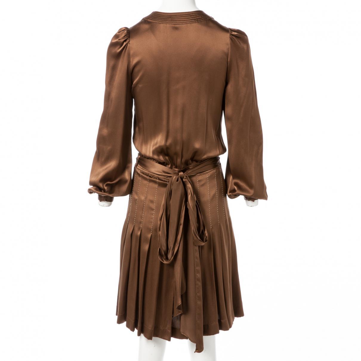 Robe mi-longue en soie Soie Barbara Bui en coloris Marron
