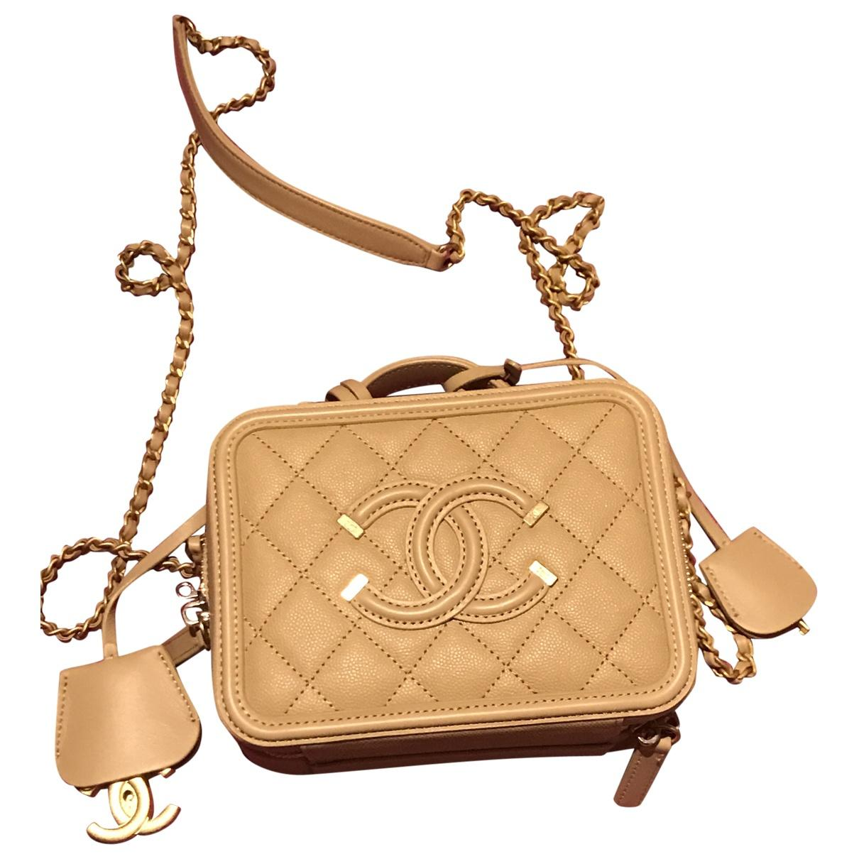 36f2e2bde22b Lyst - Chanel Vanity Leather Crossbody Bag in Natural